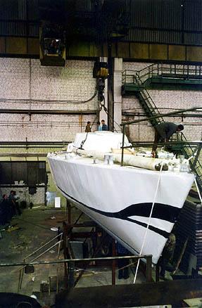 Корпус яхты в цеху Тверского вагоностроительного завода